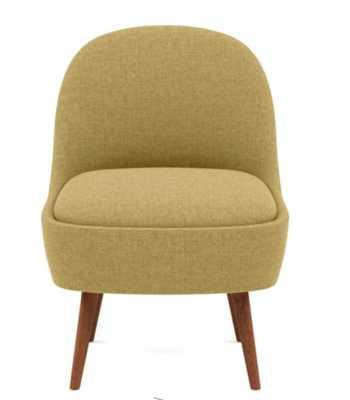 MADELINE Slipper Chair - Ochre Monochromatic Plush - Oiled Walnut Tall Wood Tapered - Interior Define
