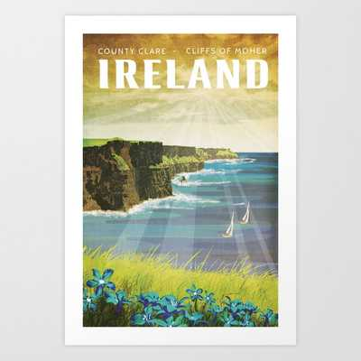 Ireland, Cliffs of Moher - Vintage Style Travel Poster Art Print - Society6