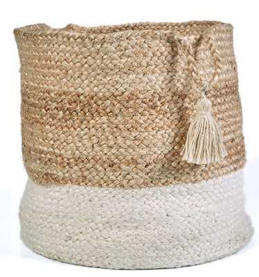 "Natural Jute Decorative Storage Basket, Brown - 17"" - Home Depot"