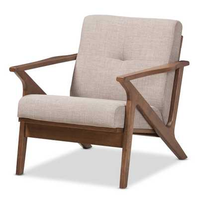 BAXTON STUDIO BIANCA MID-CENTURY MODERN WALNUT WOOD LIGHT GREY FABRIC TUFTED LOUNGE CHAIR - Lark Interiors