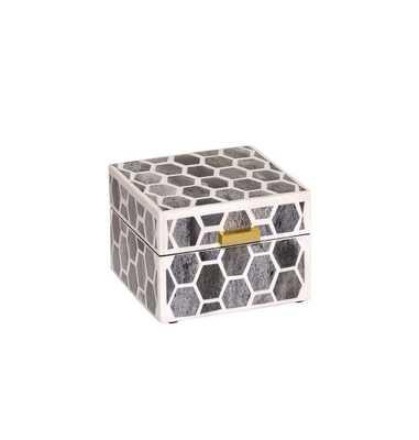 Gramercy Box Small in Grey & White - Koa Artisans