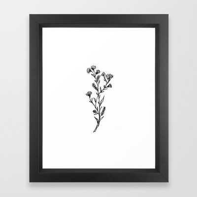 Buttercup Sprig Framed Art Print, Vector Black, 10x12 - Society6