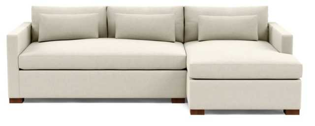 """CHARLY Sectional Sofa with Right Chaise - Chalk Heathered Weave - Oiled Walnut Block Leg - 106"""" - 63"""" chaise - Bench Cushion - Standard Down Blend - Interior Define"""