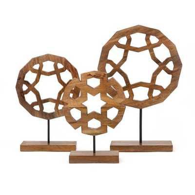 Jansen Wood Carved Sculptures - Set of 3 - Mercer Collection