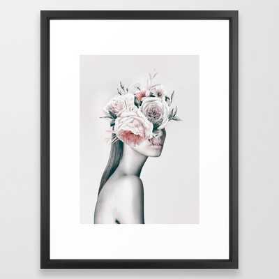 WOMAN WITH FLOWERS 11 Framed Art Print - vector black framed - Society6