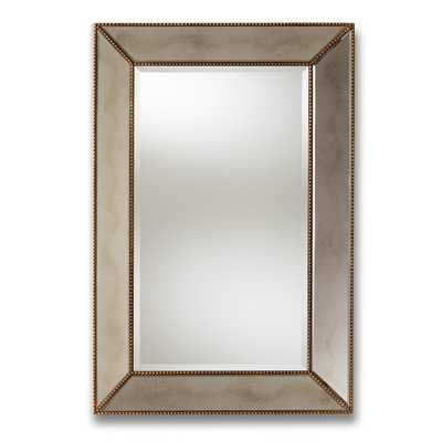 BAXTON STUDIO NEVA MODERN AND CONTEMPORARY ANTIQUE GOLD FINISHED RECTANGULAR ACCENT WALL MIRROR - Lark Interiors