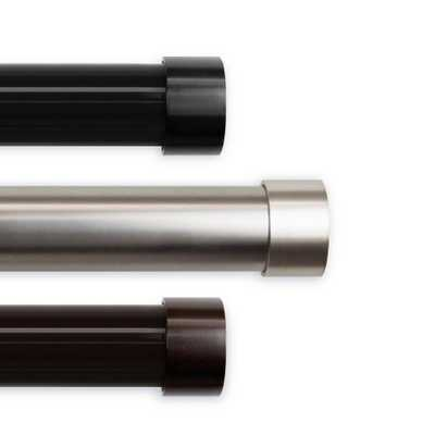 Rod Desyne 1.5 in. Dia Cap 165 in. L - 215 in. L Curtain Rod Set in Satin Nickel - Home Depot