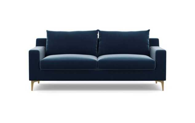 Sloan Sofa in Sapphire Fabric with Brass Plated Sloan L Leg - Interior Define