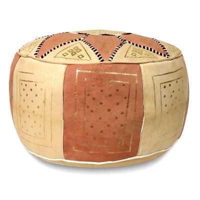 "Carnuel 18"" Wide Genuine Leather Round Ikat Pouf Ottoman - Wayfair"