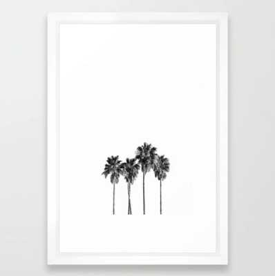"Palm trees 3 Framed Art Print; Vector White - Small 15"" x 21"" - Society6"