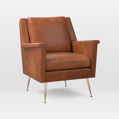 Carlo Mid-Century Chair, Poly, Vegan Leather, Saddle, Pecan - West Elm
