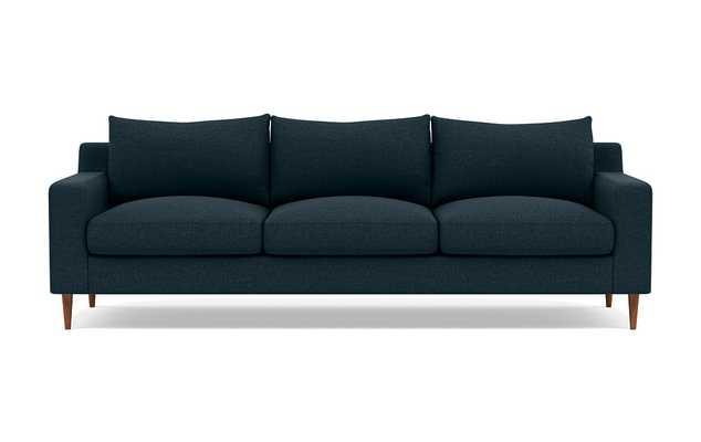 SLOAN 3-Seat Sofa, Union Monochromatic Plush, Oiled Walnut Tapered Round Wood - Interior Define
