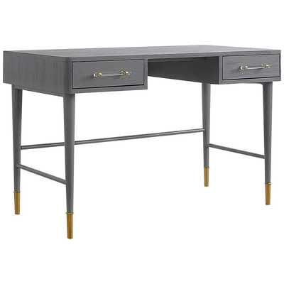 """Talia 47 1/4"""" Wide Brushed Antique Gray 2-Drawer Wood Desk - Lamps Plus"""