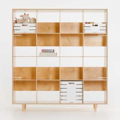 Sprout Natural 16 Cubby Birch Bookcase - Crate and Barrel