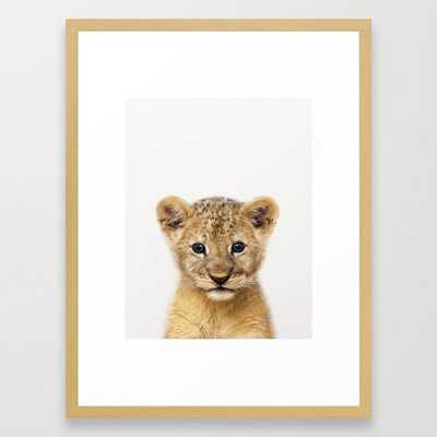 """Baby Lion, Baby Animals Art Print By Synplus Framed Art Print, 20"""" x 26"""", Conservation Natural - Society6"""