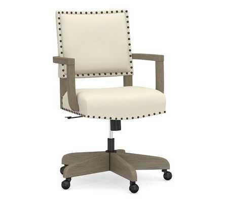 Manchester Upholstered Swivel Desk Chair, Graywash Frame, Park Weave Ivory fabric - Pottery Barn