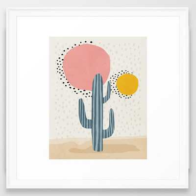 Cacti Desert, Mid century modern kids wall art, Nursery room Framed Art Print - Society6