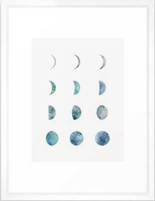 Moon Phases - Light Framed Art Print, 20x26, Vector White Frame - Society6