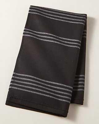 RAYA BLACK STRIPED HAND TOWEL - CB2