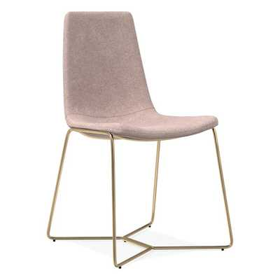 Slope Upholstered Dining Chair - light pink astor velvet - West Elm
