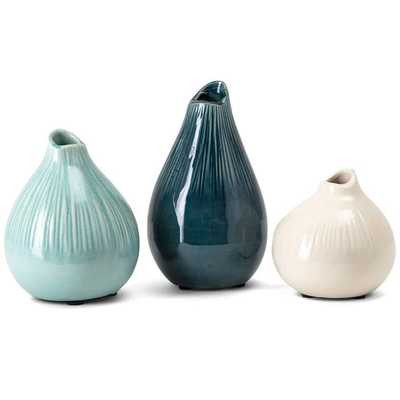 Stein Blue and Ivory Ceramic Decorative Vases Set of 3 - Lamps Plus