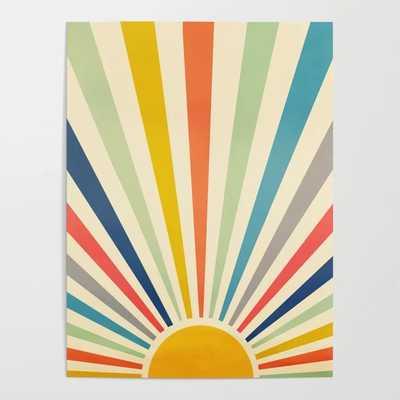 Sun Retro Art III Framed Art Print, 18 x 24 - Society6