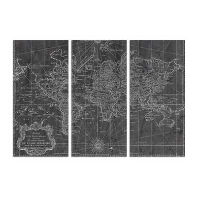 OLIVER GAL 'WORLD MAP 1778 TRIPTYCH MAPS ART' WRAPPED CANVAS PRINT - Birch Lane