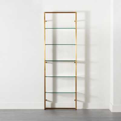 "Tesso Brushed Brass 84"" Bookcase - CB2"