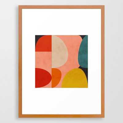 geometry shape mid century organic blush curry teal Framed Art Print - Society6