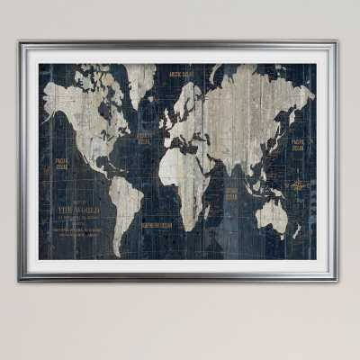 "'OLD WORLD MAP' Framed Acrylic Painting Print, Silver, 30"" H x 40"" W x 1.5"" D - West Elm"