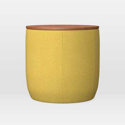 Upholstered Base Ottoman, Small, Basket Slub, Horseradish, Concealed Supports - West Elm