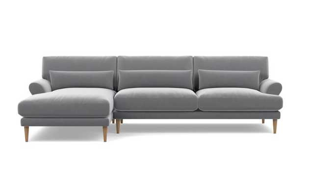 Maxwell, Left Chaise, Elephant Velvet Sectional, Natural Leg - Interior Define