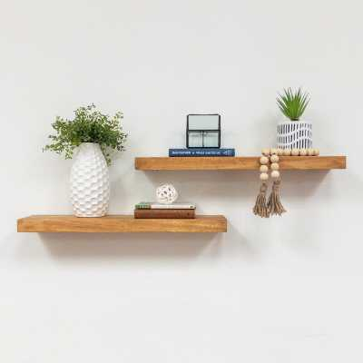 "Evonne Wall Shelf - Set of 2 - Walnut - 24"" W - Wayfair"