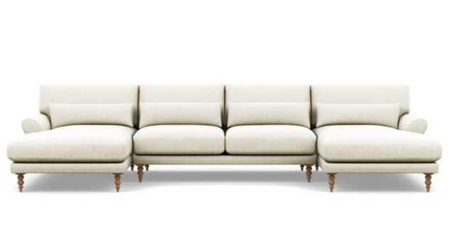 MAXWELL U-Sectional Sofa - Vanilla Static Weave - Natural Oak Tapered Legs - Interior Define