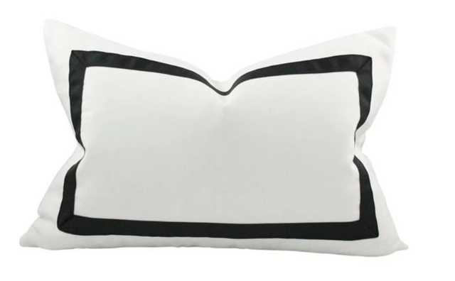 Solid White with Grosgrain Ribbon Border lumbar -10x18 pillow cover / Black - Arianna Belle