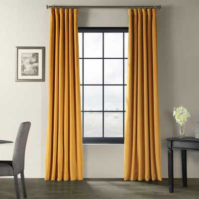 Exclusive Fabrics & Furnishings Signature Fool's Gold Blackout Velvet Curtain - 50 in. W x 96 in. L - Home Depot