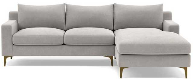 Sloan Right Sectional with Sterling Performance Velvet, down alternative cushions, and Brass Plated Sloan L Leg - Interior Define