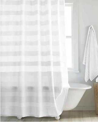 DKNY Highline 72-Inch x 96-Inch Stripe Shower Curtain in White - Bed Bath & Beyond
