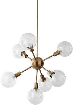 Rivet Mid-Century Modern Sputnik Glass Globe Ceiling Pendant Chandelier Fixture With 7 Light Bulbs - 22.5 x 22.5 x 24 Inches, Gold - Amazon