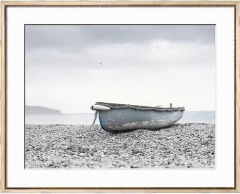 Boat at Beach in Devon - 42 x 34 - Tatiana Cream - With Mat - art.com