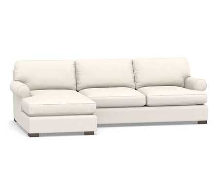 Townsend Roll Arm Upholstered Right Arm Sofa with Chaise Sectional, Polyester Wrapped Cushions, Performance Chateau Basketweave Ivory - Pottery Barn