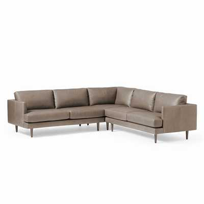 Haven Loft Set 03: Left Arm Sofa, Corner, Right Arm Sofa, Trillium, Ludlow Leather, Pewter, Pecan - West Elm