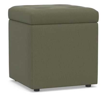 Marlow Upholstered Storage Cube, Performance Heathered Velvet Olive - Pottery Barn