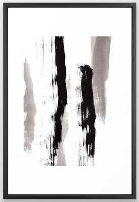 Live Your Color no.89 - black and white modern minimalist abstract brushstroke painting Framed Art Print - Society6