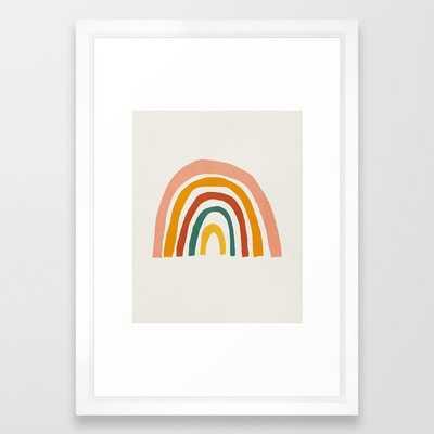 "Rainbow, Mid century modern kids wall art, Nursery room Framed Art Print - 15"" x 21"" - Vector White - Society6"