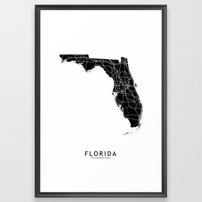 Florida Black Map Framed Art Print - Society6