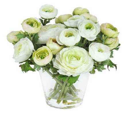 Faux Ranunculus in Glass Vase - White/Green - Pottery Barn