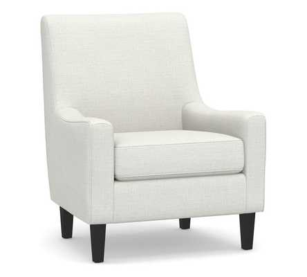 SoMa Isaac Upholstered Armchair, Polyester Wrapped Cushions, Basketweave Slub Ivory - Pottery Barn