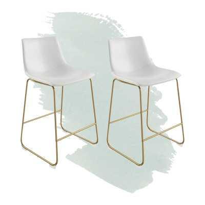 Gold White Coleman Bar & Counter Stool-Set of 2 - Wayfair