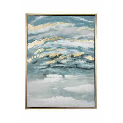 Turquoise & Gold Abstract Framed Painting - Wayfair